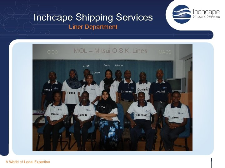 Inchcape Shipping Services Liner Department CIDO MOL – Mitsui O. S. K. Lines MACS