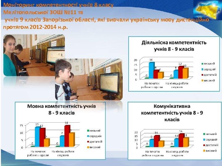 Моніторинг компетентності учнів 8 класу Мелітопольської ЗОШ № 11 та учнів 9 класів Запорізької