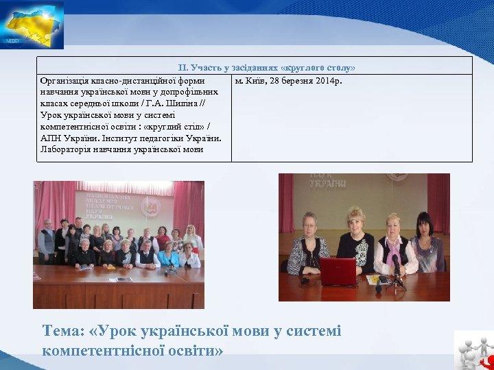 ІІ. Участь у засіданнях «круглого столу» Організація класно-дистанційної форми м. Київ, 28 березня 2014