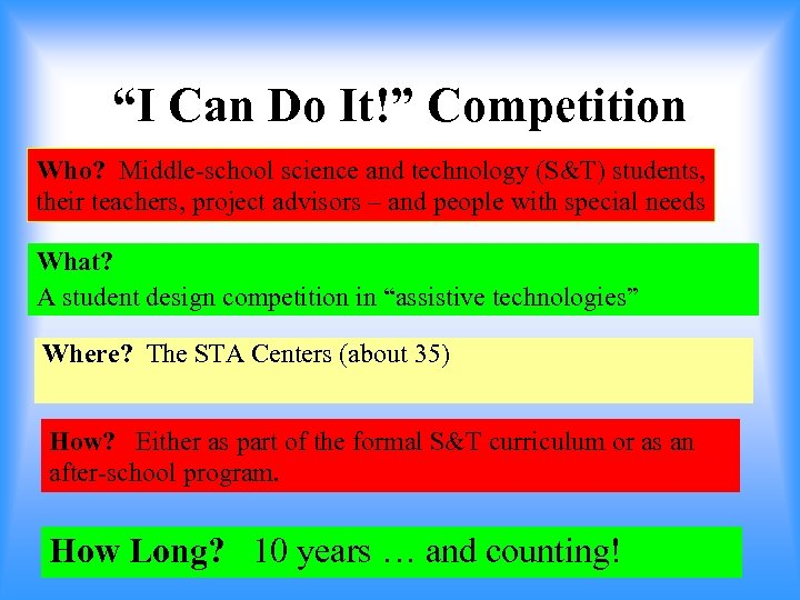 """""""I Can Do It!"""" Competition Who? Middle-school science and technology (S&T) students, their teachers,"""
