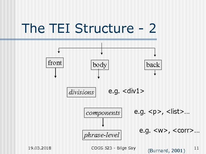 The TEI Structure - 2 front body divisions back e. g. <div 1> components