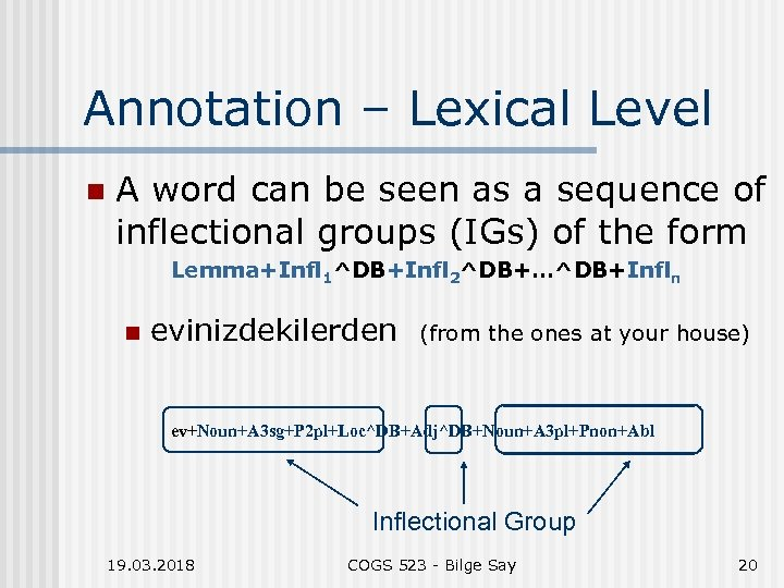 Annotation – Lexical Level n A word can be seen as a sequence of