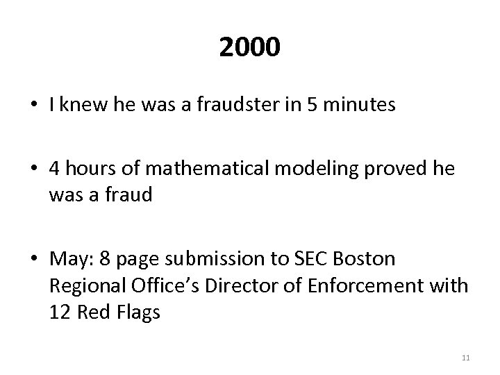 2000 • I knew he was a fraudster in 5 minutes • 4 hours