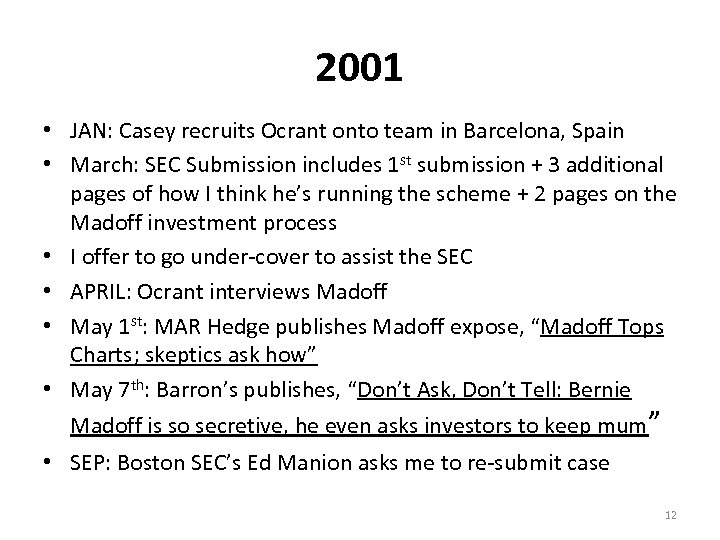 2001 • JAN: Casey recruits Ocrant onto team in Barcelona, Spain • March: SEC