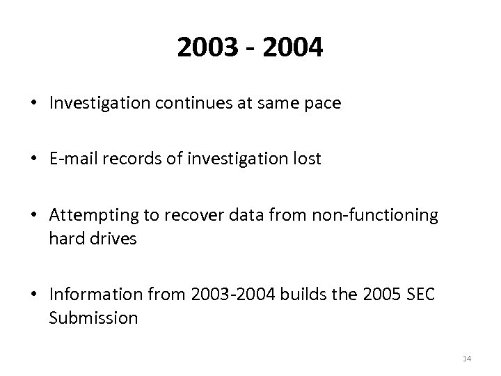 2003 - 2004 • Investigation continues at same pace • E-mail records of investigation