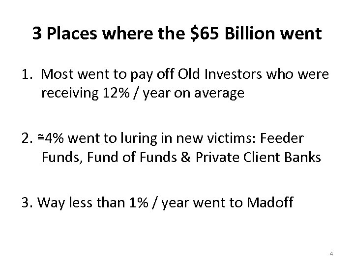 3 Places where the $65 Billion went 1. Most went to pay off Old
