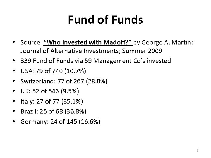 "Fund of Funds • Source: ""Who Invested with Madoff? "" by George A. Martin;"