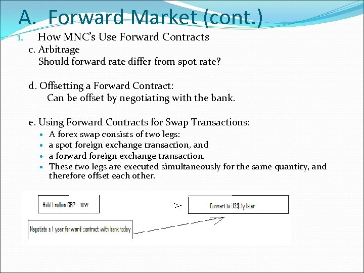 A. Forward Market (cont. ) 1. How MNC's Use Forward Contracts c. Arbitrage Should