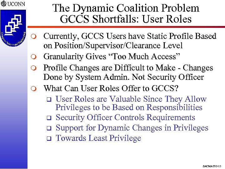 The Dynamic Coalition Problem GCCS Shortfalls: User Roles m m Currently, GCCS Users have