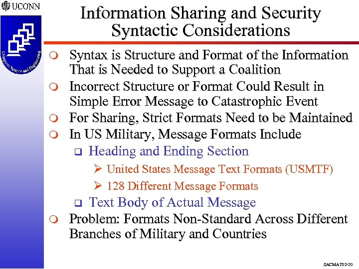 Information Sharing and Security Syntactic Considerations m m Syntax is Structure and Format of