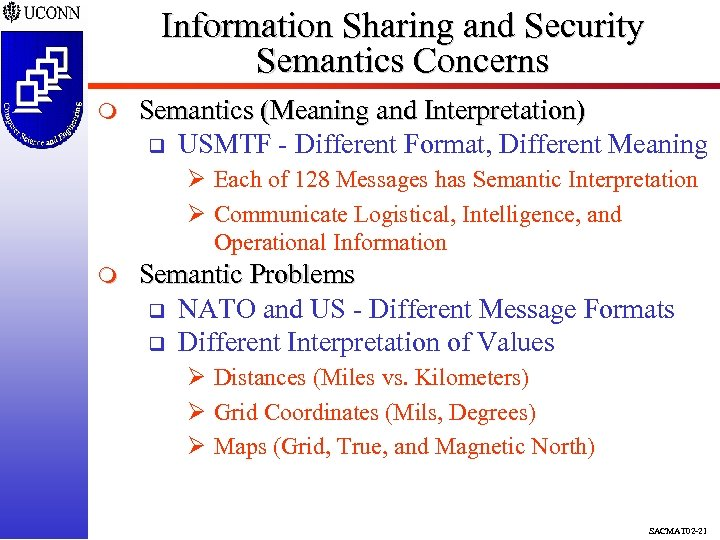 Information Sharing and Security Semantics Concerns m Semantics (Meaning and Interpretation) q USMTF -