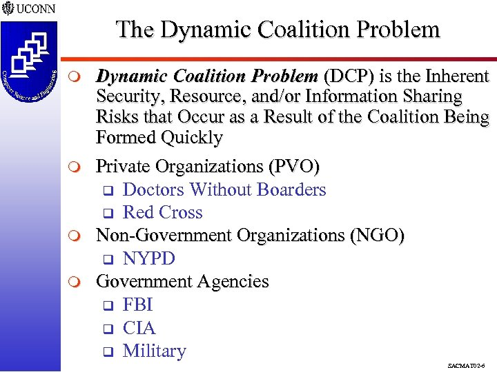The Dynamic Coalition Problem m m Dynamic Coalition Problem (DCP) is the Inherent Security,
