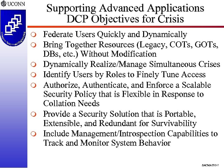 Supporting Advanced Applications DCP Objectives for Crisis m m m m Federate Users Quickly