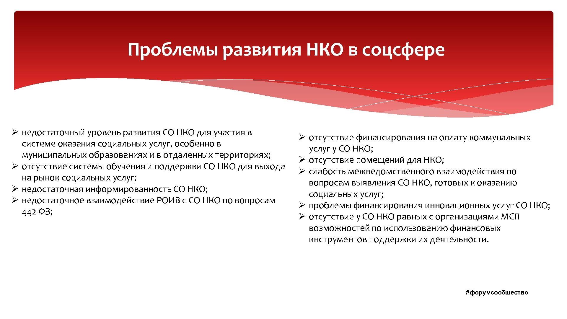 Проблемы развития НКО в соцсфере Ø недостаточный уровень развития СО НКО для участия в