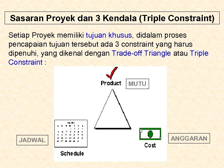 Sasaran Proyek dan 3 Kendala (Triple Constraint) Setiap Proyek memiliki tujuan khusus, didalam proses