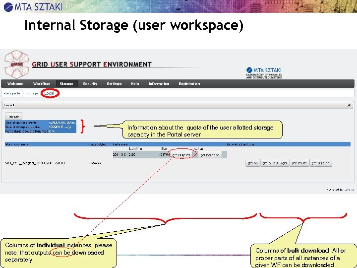 Internal Storage (user workspace) Information about the quota of the user allotted storage capacity