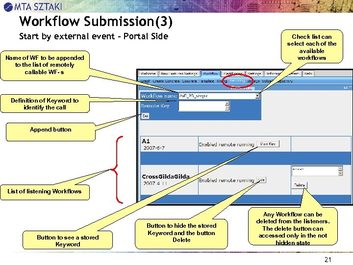 Workflow Submission(3) Start by external event – Portal Side Name of WF to be