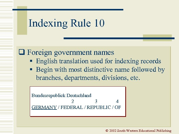 Indexing Rule 10 q Foreign government names § English translation used for indexing records