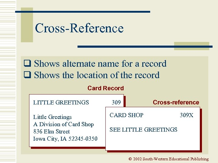 Cross-Reference q Shows alternate name for a record q Shows the location of the