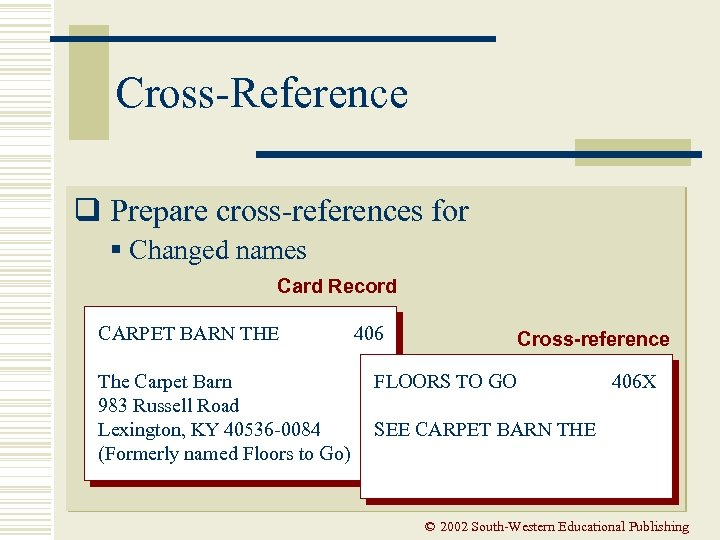 Cross-Reference q Prepare cross-references for § Changed names Card Record CARPET BARN THE The