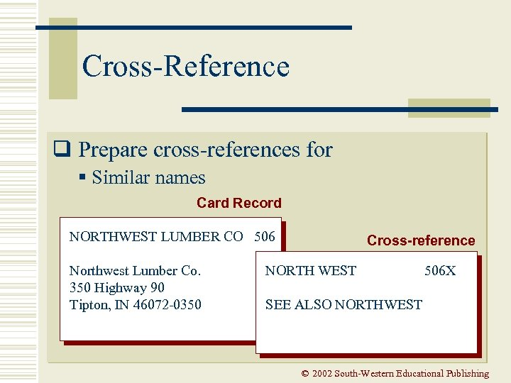 Cross-Reference q Prepare cross-references for § Similar names Card Record NORTHWEST LUMBER CO 506