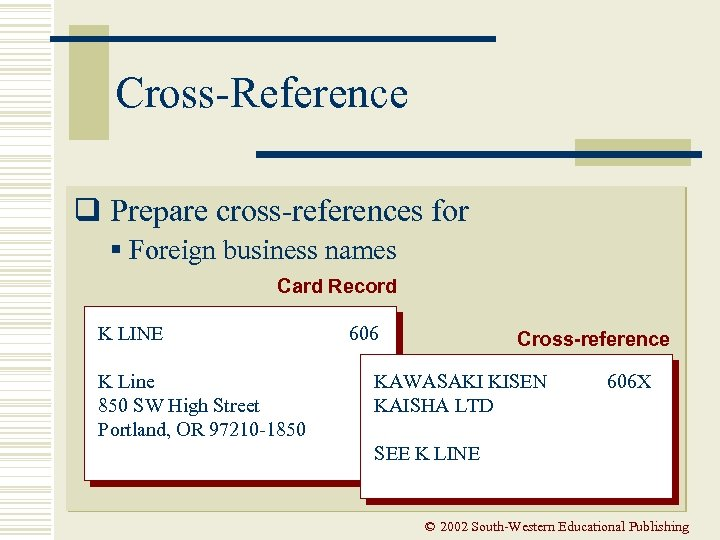 Cross-Reference q Prepare cross-references for § Foreign business names Card Record K LINE K