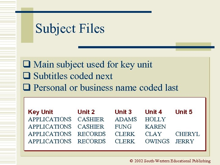 Subject Files q Main subject used for key unit q Subtitles coded next q