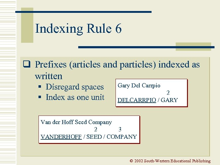 Indexing Rule 6 q Prefixes (articles and particles) indexed as written § Disregard spaces