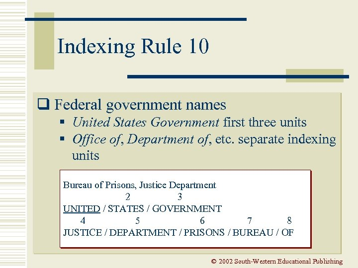 Indexing Rule 10 q Federal government names § United States Government first three units