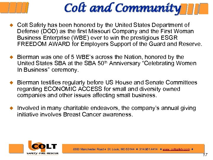 Colt and Community ¿ Colt Safety has been honored by the United States Department