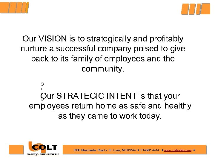 Our VISION is to strategically and profitably nurture a successful company poised to give
