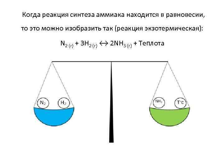 Когда реакция синтеза аммиака находится в равновесии, то это можно изобразить так (реакция экзотермическая):
