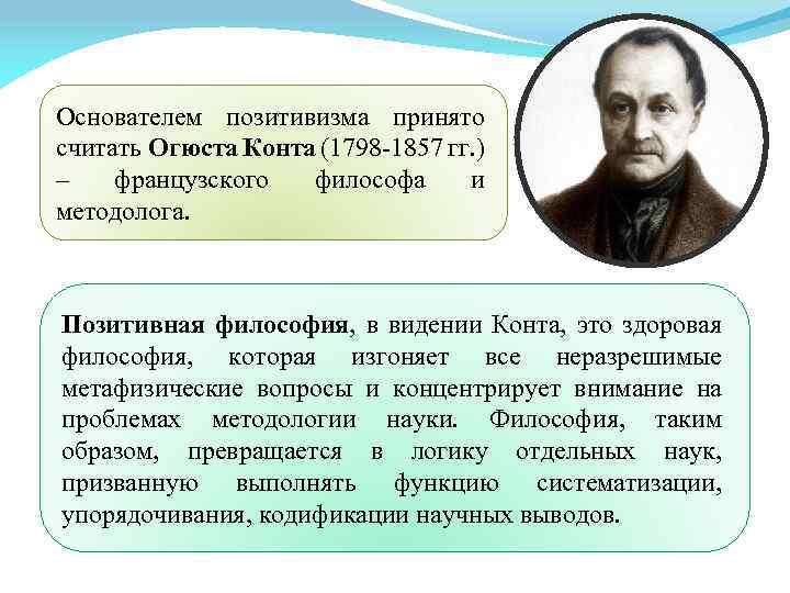 Основателем позитивизма принято считать Огюста Конта (1798 -1857 гг. ) – французского философа и