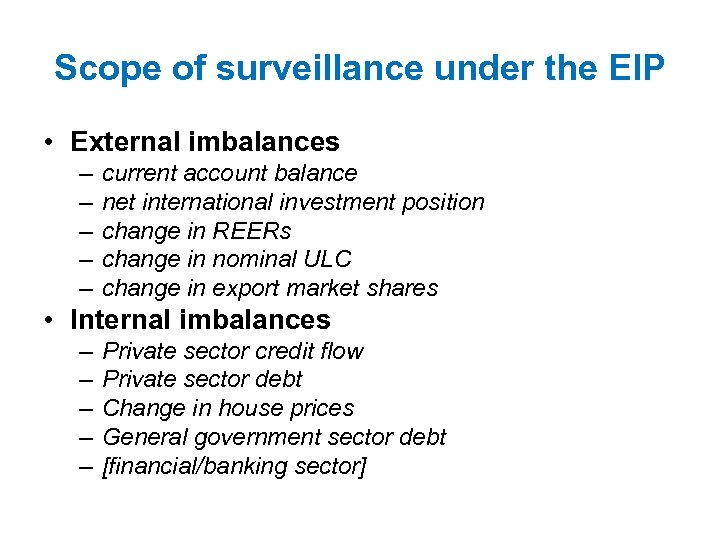 Scope of surveillance under the EIP • External imbalances – – – current account