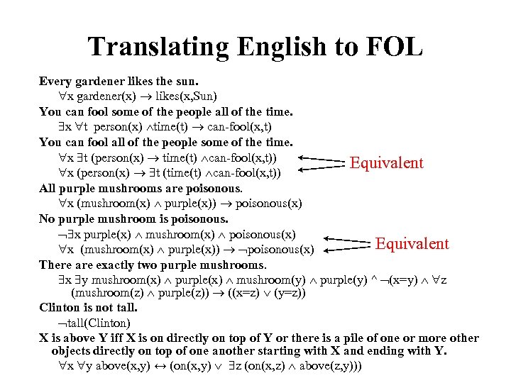 Translating English to FOL Every gardener likes the sun. x gardener(x) likes(x, Sun) You