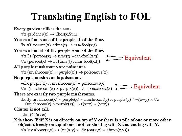 Translating English to FOL Every gardener likes the sun. x gardener(x) likes(x, Sun) You