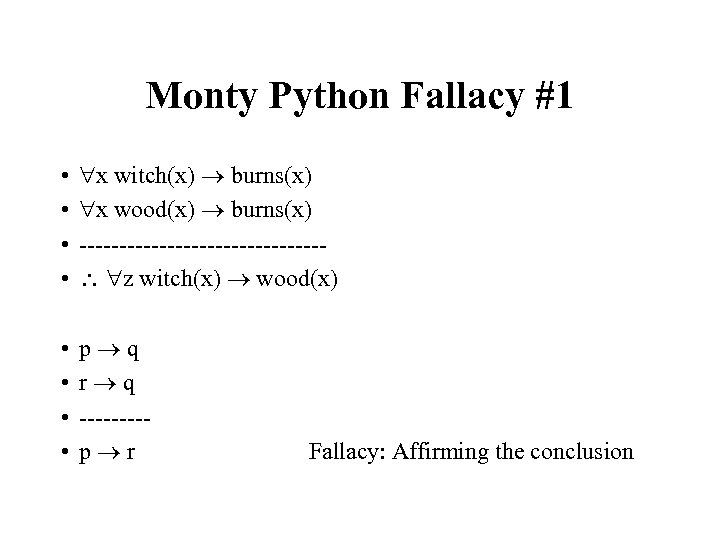 Monty Python Fallacy #1 • • x witch(x) burns(x) x wood(x) burns(x) --------------- z