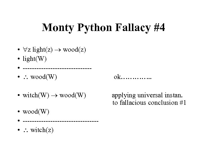 Monty Python Fallacy #4 • • z light(z) wood(z) light(W) --------------- wood(W) • witch(W)