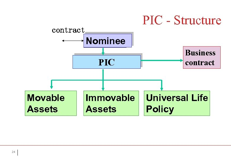 PIC - Structure contract Nominee Person PIC Movable Assets 24 Immovable Assets Business contract