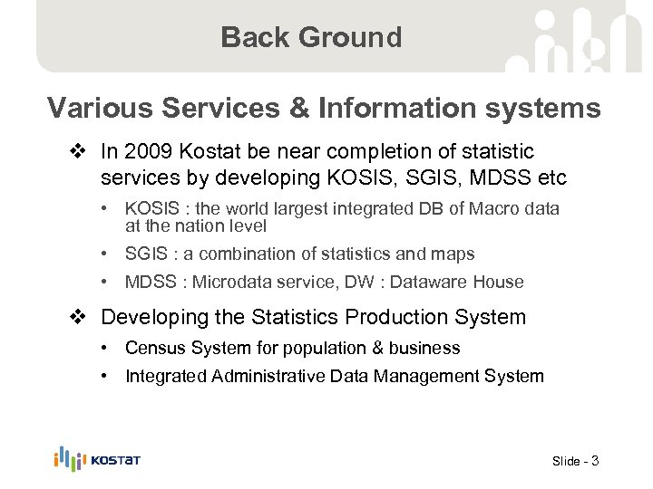 Back Ground Various Services & Information systems v In 2009 Kostat be near completion