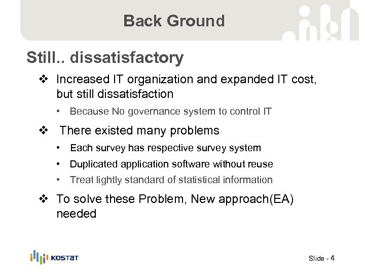 Back Ground Still. . dissatisfactory v Increased IT organization and expanded IT cost, but