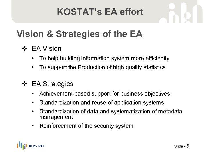 KOSTAT's EA effort Vision & Strategies of the EA v EA Vision • To