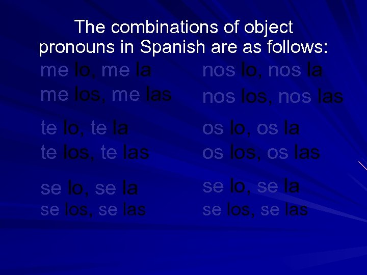 The combinations of object pronouns in Spanish are as follows: me lo, me la