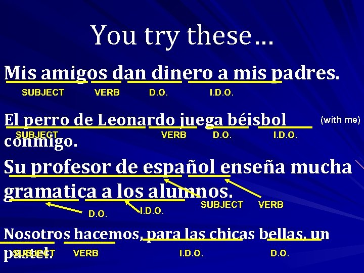 You try these… Mis amigos dan dinero a mis padres. SUBJECT VERB D. O.