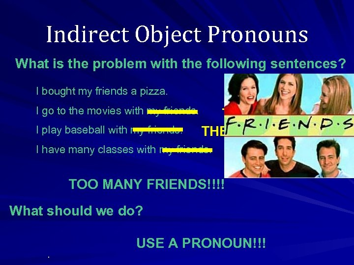 Indirect Object Pronouns What is the problem with the following sentences? I bought my