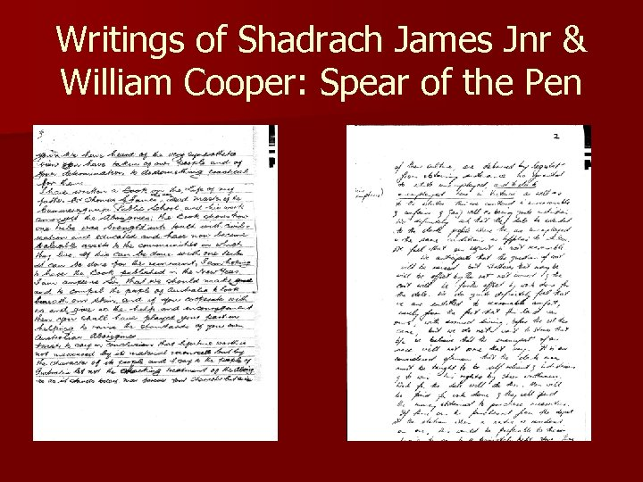 Writings of Shadrach James Jnr & William Cooper: Spear of the Pen