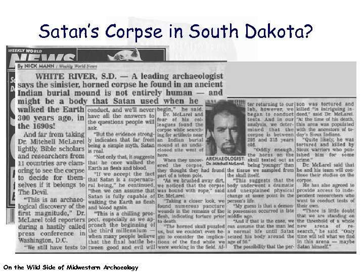 Satan's Corpse in South Dakota? On the Wild Side of Midwestern Archaeology