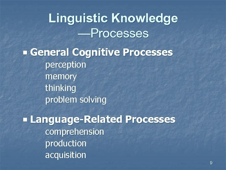 Linguistic Knowledge —Processes General Cognitive Processes perception memory thinking problem solving Language-Related Processes comprehension