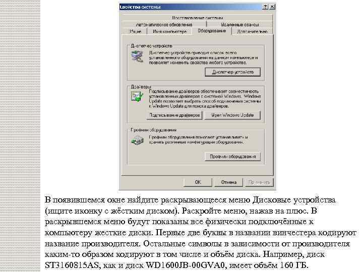 В появившемся окне найдите раскрывающееся меню Дисковые устройства (ищите иконку с жёстким диском). Раскройте
