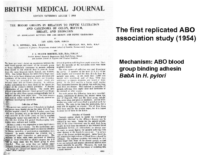The first replicated ABO association study (1954) Mechanism: ABO blood group binding adhesin Bab.